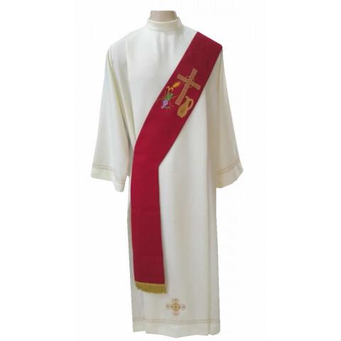 Estola Diaconal Bordada nas cores Vermelha, Branca, Roxa e Verde. CÓD: DIAC-023
