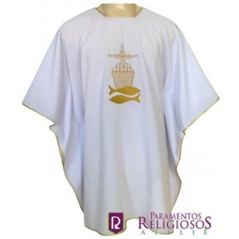 Veste para Ministro da Eucaristia com detalhes em Dourado. CÓD: VPM-041