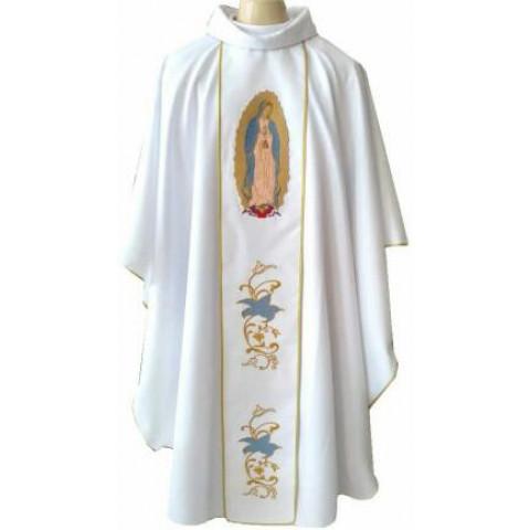Casula Branca com imagem de Nossa Senhora de Guadalupe Bordada. Acompanha Estola. CÓD: CAS-123