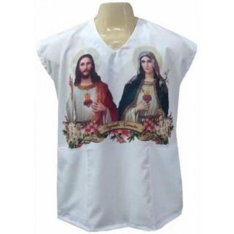 Veste Branca do Sagrado Coração de Jesus e Sagrado Coração de Maria. CÓD: VPM-064