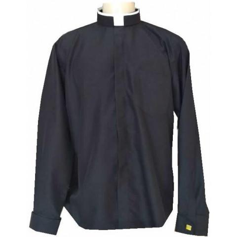 Camisa Manga Longa Colarinho Romano com Punho Duplo para Abotoadura. CÓD: CAC-020