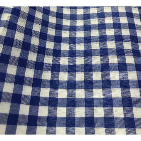 Tecido Tergal Xadrez Azul royal 1m x 1,40 largura