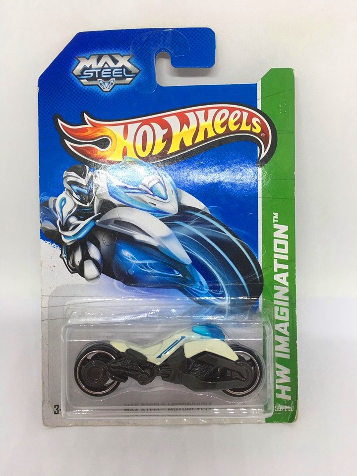 Hot Wheels - Max Steel Motorcycle Branca - Mainline 2013