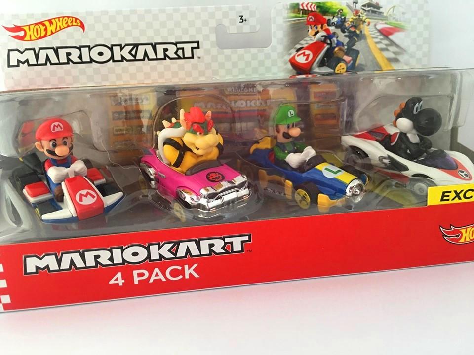 Hot Wheels - Pack 4 Mario Kart - Black Yoshi Exclusive - Mario - Bowser - Luigi - Black Yoshi