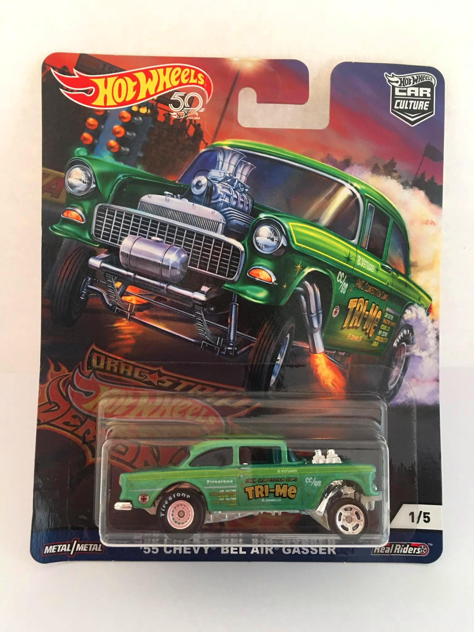 Hot Wheels - 55 Chevy Bel Air Gasser Verde - Car Culture - Drag Strip Demons