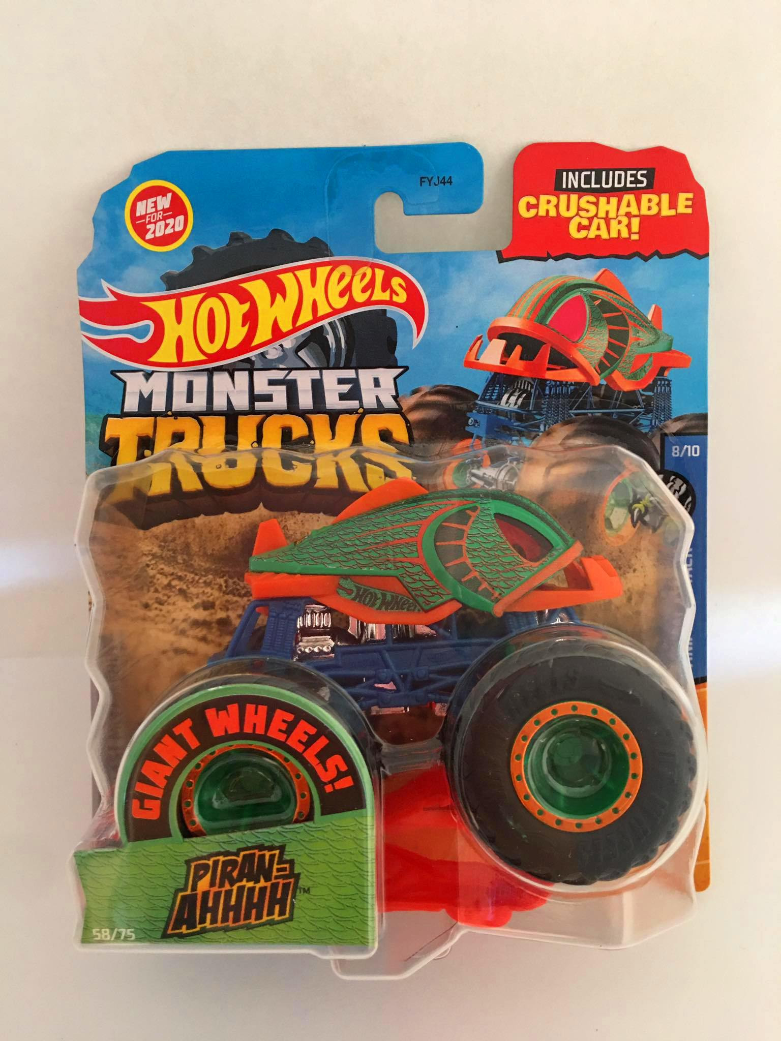 Hot Wheels - Piran-ahhhh Verde - Giant Whee Preto - Monster Trucks