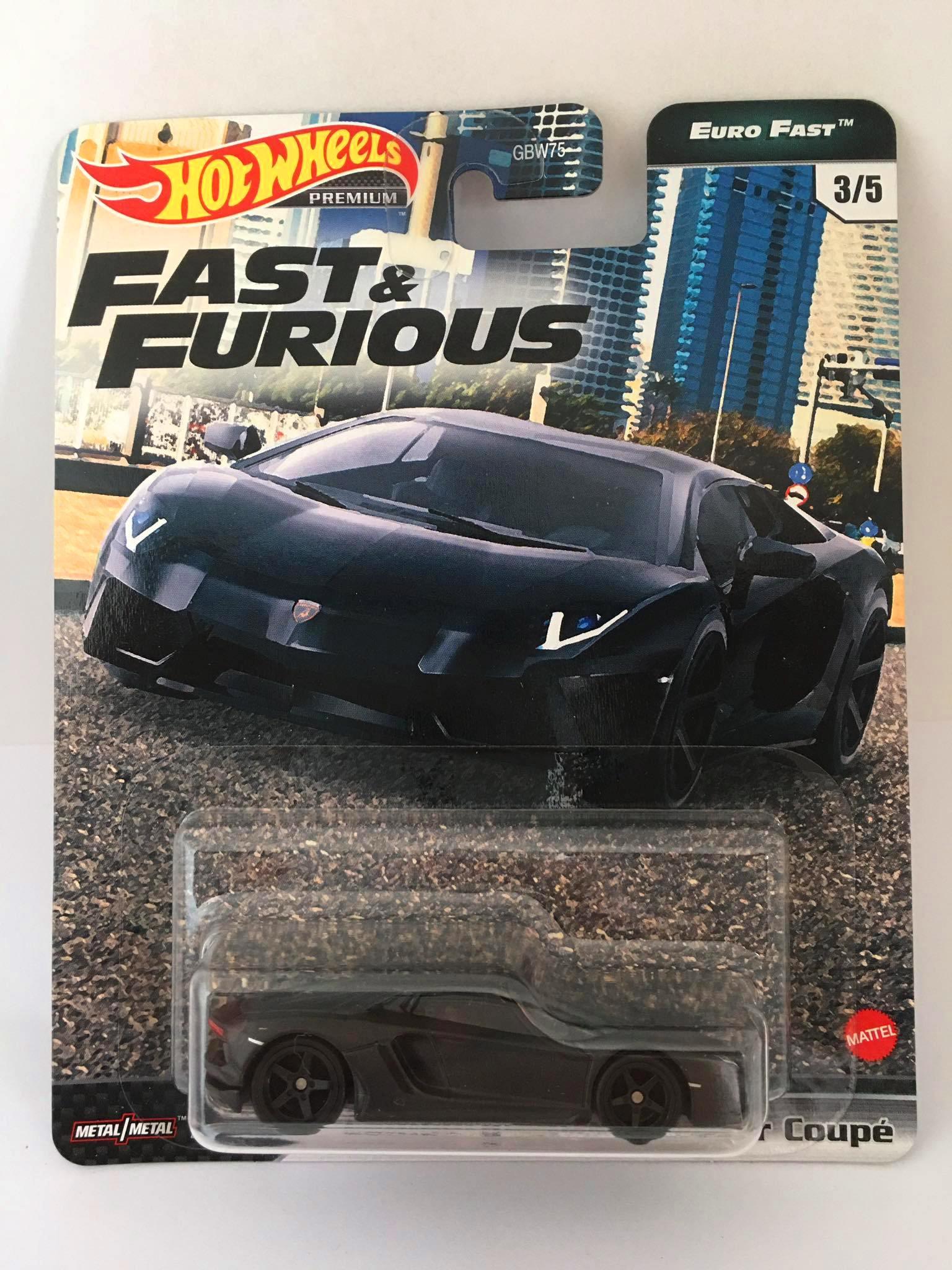 Hot Wheels - Lamborghini Aventador Coupé  Preto - Fast e Furious - Euro Fast