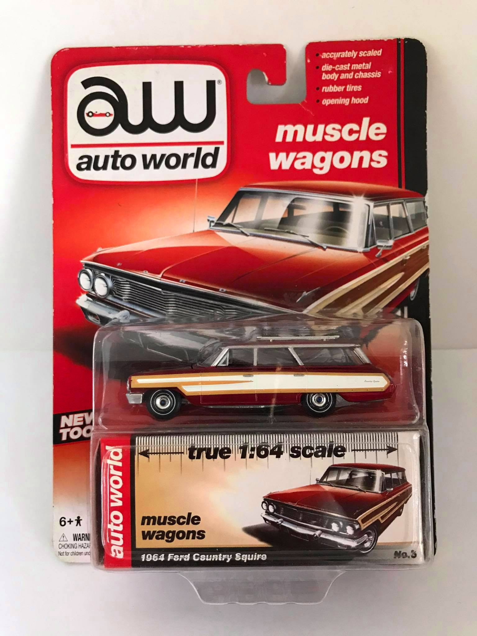 Auto World - 1964 Ford Country Squire - Chase ULTRA RED - Muscle Wagons