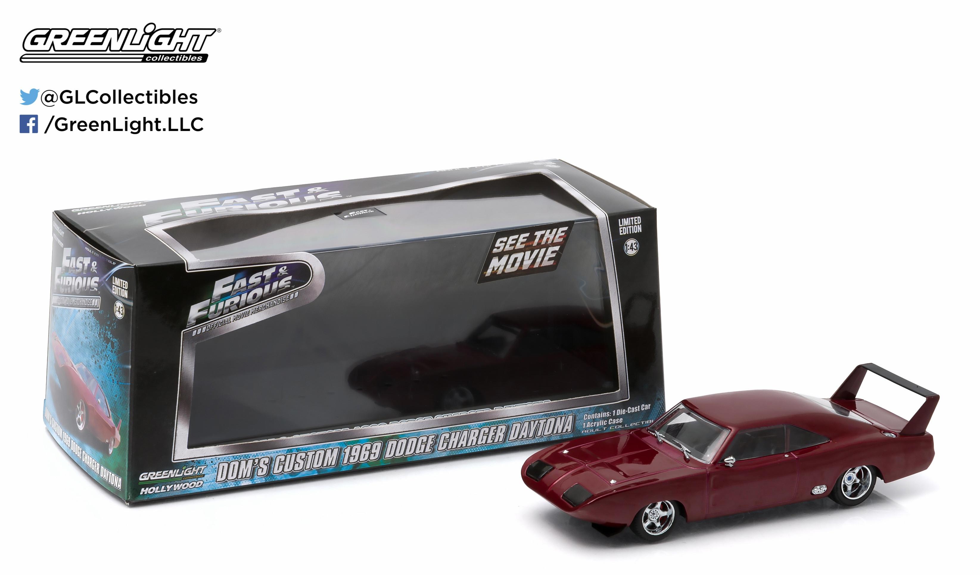 Greenlight Hollywood - Dom's Custom 1969 Dodge Charger Daytona - Fast and Furious - Escala 1:43