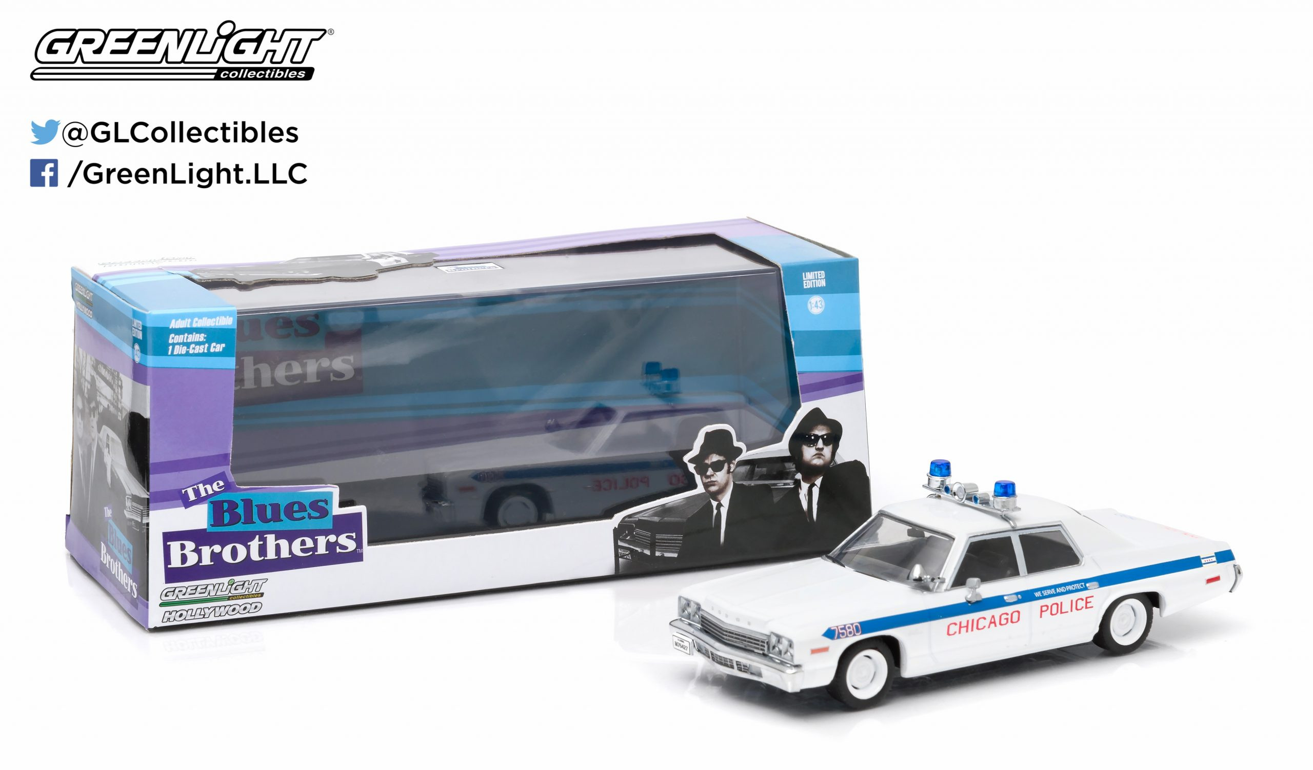 Greenlight Hollywood - 1975 Dodge Monaco - Chicago Police - The Blues Brothers - Escala 1:43