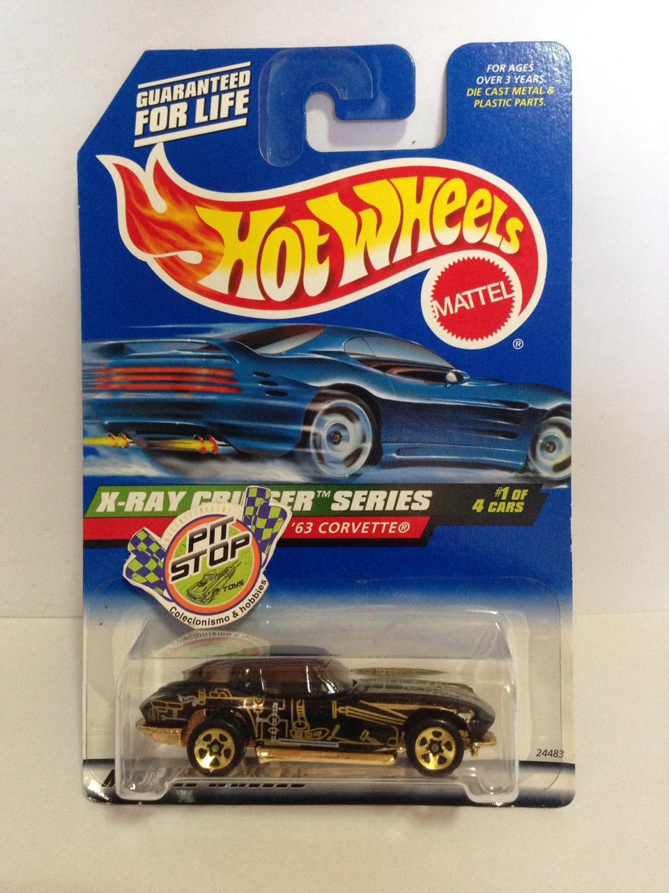 Hot Wheels - 63 Corvette Preto - Mainline 1999