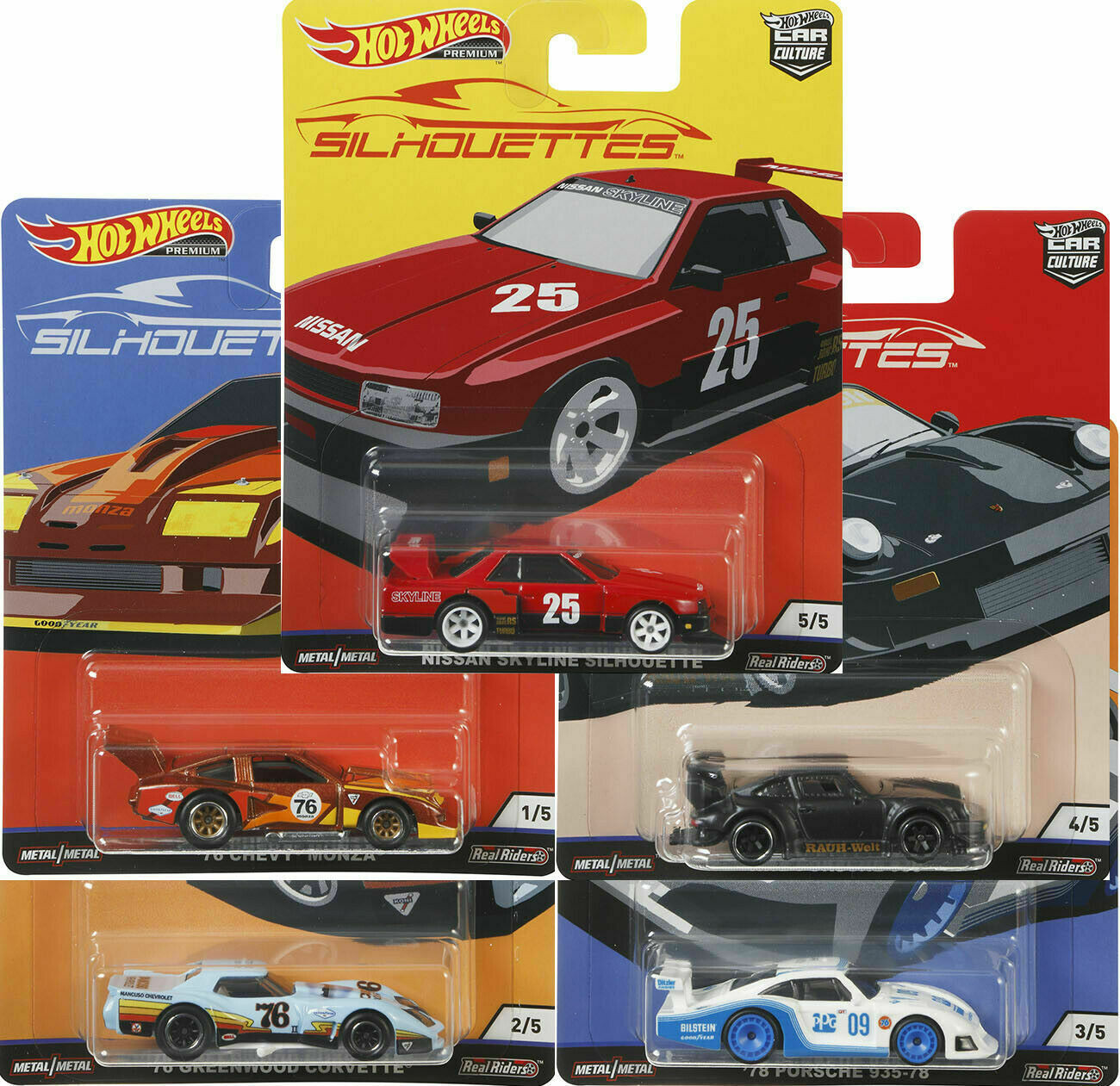 Hot Wheels - Conjunto Car Culture J - Silhouettes - Set Completo 5 Miniaturas
