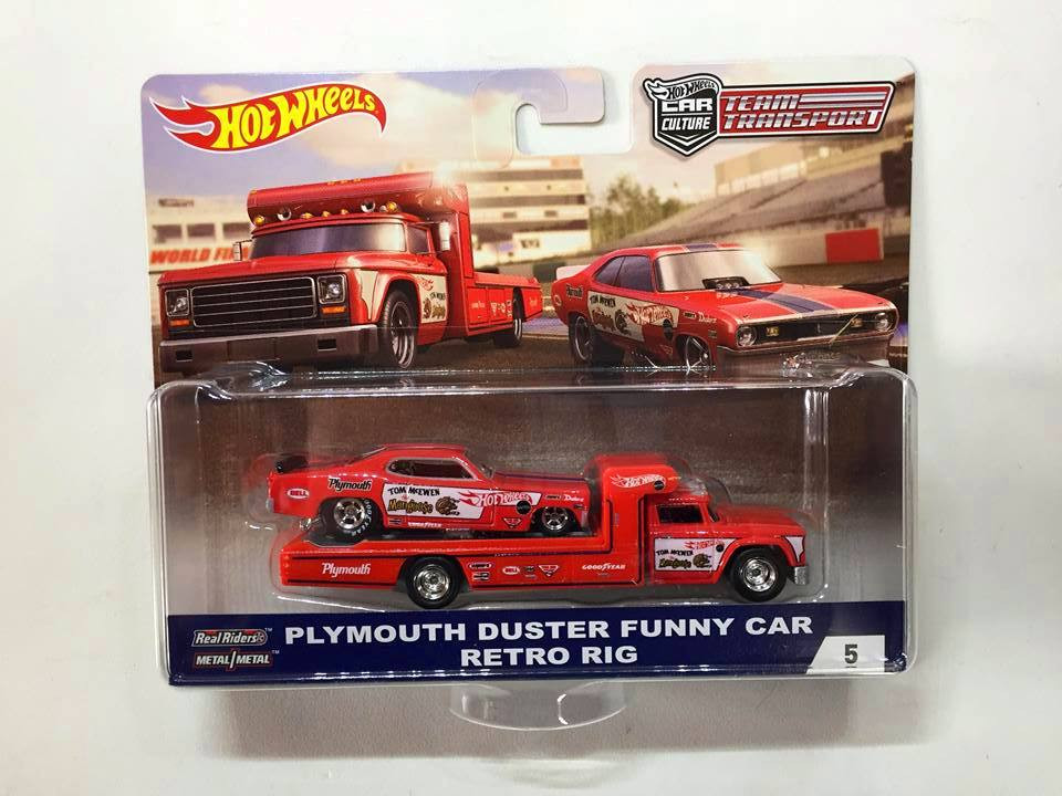Hot Wheels - Plymouth Duster Funny Car & Retro Rig - Team Transport