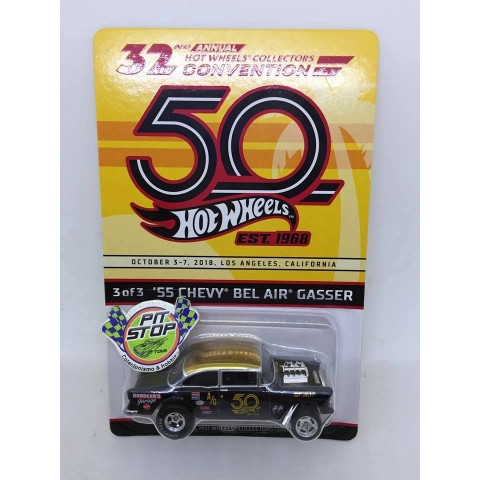 Hot Wheels - 55 Chevy Bel Air Gasser Preto - 32nd Annual Collectors Convention - 50th