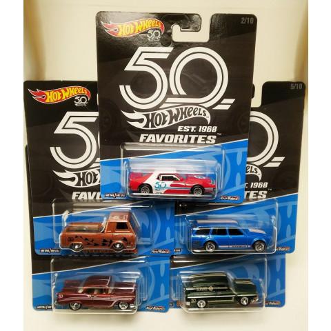 Hot Wheels - Conjunto 5 Carros Favorites 50 Years - 2018