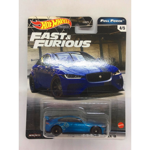 Hot Wheels - Jaguar XE SV Project 8 Azul - Full Force - Fast e Furious - Velozes e Furiosos
