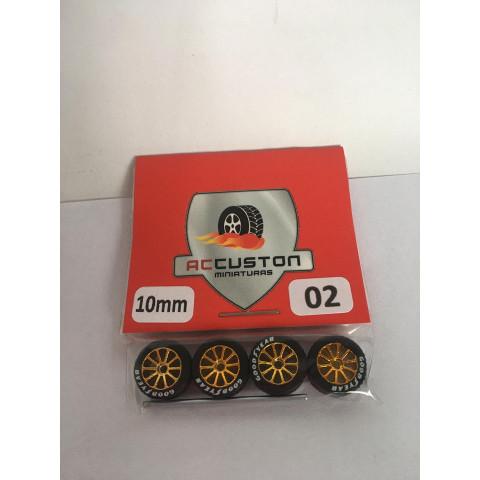 Jogo de Rodas e Eixo para Customização 02 Diâmetro de 10mm Na Cor Dourada Pneus Pretos GoodYear