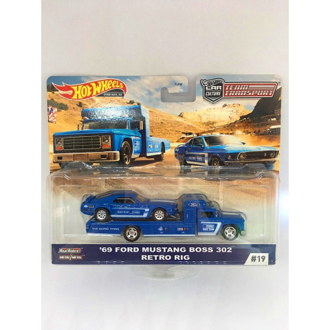 Hot Wheels - 69 Ford Mustang Boss 302 Retro Rig - Team Transport