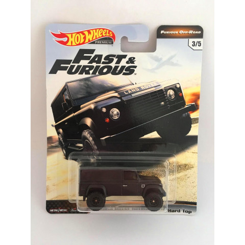 Hot Wheels - Land Rover Defender 110 Hand Top Preto - Furious Off-Road - Fast e Furious - Velozes e Furiosos