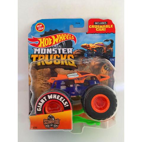 Hot Wheels - Scorpedo Laranja  - Giant Whee Preto - Monster Trucks