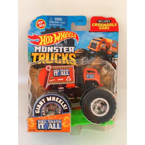 Hot Wheels - Will Trash It All Laranja - Giant Wheels - Monster Trucks
