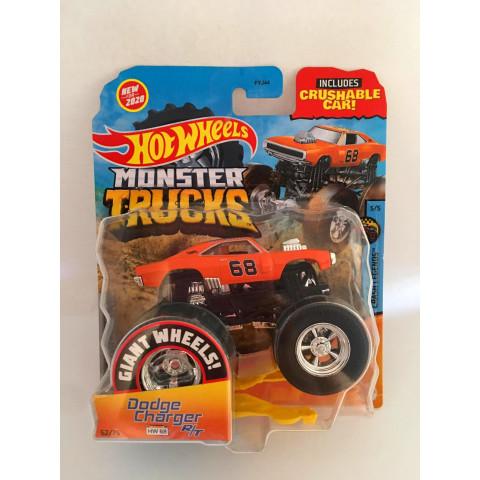 Hot Wheels - Dodge Charger R/T Laranja - Giant Wheels - Monster Trucks