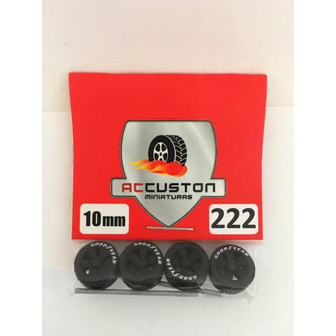 Jogo de Rodas e Eixo para Customização 222 Diâmetro de 10mm Na Cor Preto Pneus Pretos Goodyear
