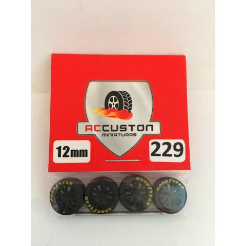 Jogo de Rodas e Eixo para Customização 229 Diâmetro de 12mm Na Cor Preto Pneus Pretos Goodyear