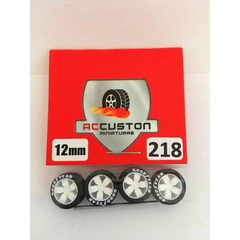 Jogo de Rodas e Eixo para Customização 218 Diâmetro de 12mm Na Cor Branca Pneus Pretos Goodyear