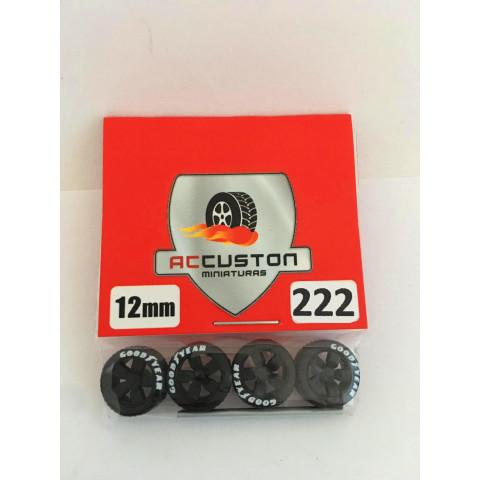 Jogo de Rodas e Eixo para Customização 222 Diâmetro de 12mm Na Cor Preto Pneus Pretos Goodyear
