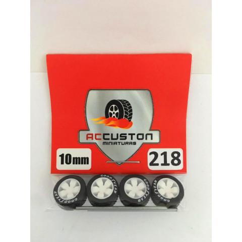 Jogo de Rodas e Eixo para Customização 218 Diâmetro de 10mm Na Cor Branca Pneus Pretos Goodyear