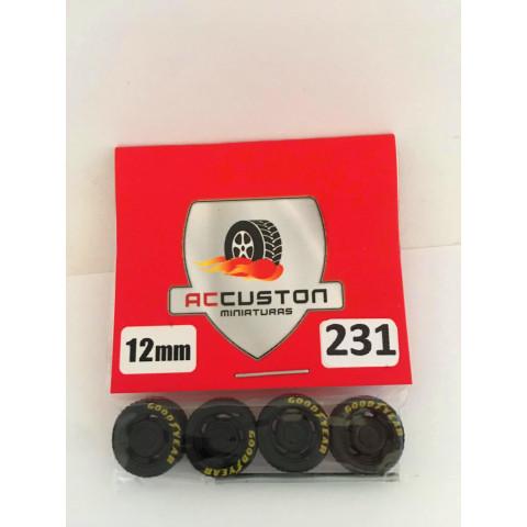 Jogo de Rodas e Eixo para Customização 231 Diâmetro de 12mm Na Cor Preto Pneus Pretos Goodyear