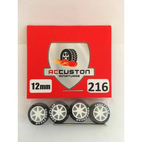 Jogo de Rodas e Eixo para Customização 216 Diâmetro de 12mm Na Cor Branca Pneus Pretos Goodyear
