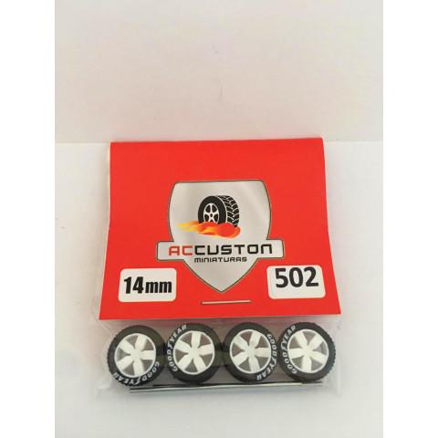 Jogo de Rodas e Eixo para Customização 502 Diâmetro de 14mm Na Cor Branca Pneus Pretos Goodyear