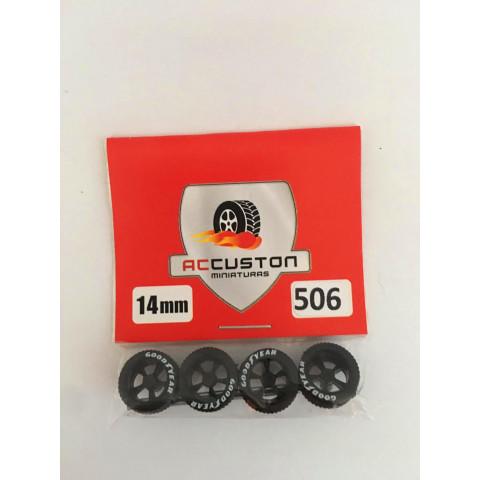 Jogo de Rodas e Eixo para Customização 506 Diâmetro de 14mm Na Cor Preto Pneus Pretos Goodyear