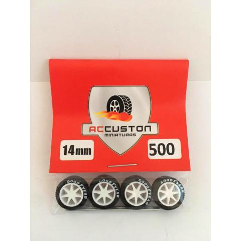 Jogo de Rodas e Eixo para Customização 500 Diâmetro de 14mm Na Cor Branca Pneus Pretos Goodyear