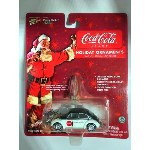 Johnny Lightning - 1966 Volkswagen Beetle Branco - Holiday Ornaments - Coca Cola