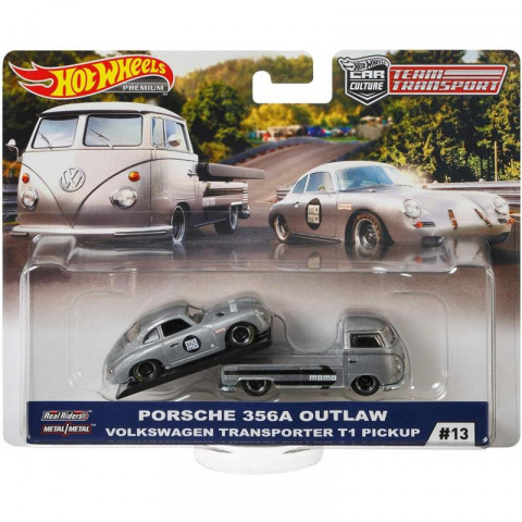 Hot Wheels - Porsche 356 Outlaw & Volkswagen Transporter T1 Pickup - Team Transport - HW Premium