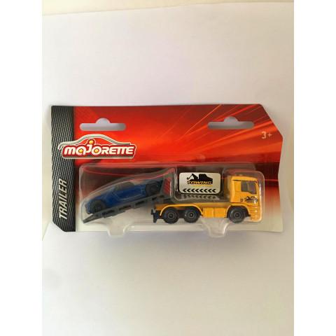 Majorette - Caminhão MAN TGS Amarelo - Reboque Porsche 918 Spyder Azul - Trailer