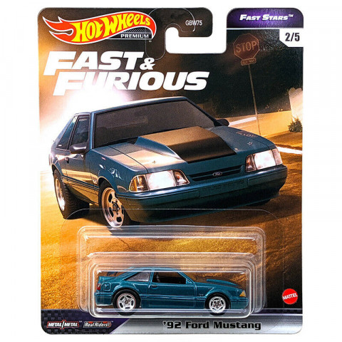 Hot Wheels - 92 Ford Mustang Azul - Fast Stars - Fast Furious