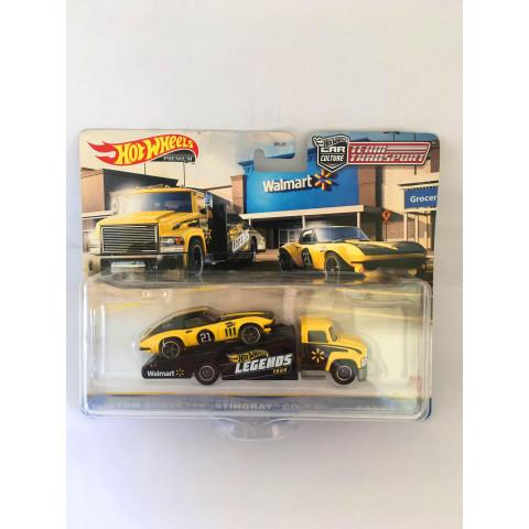 Hot Wheels - Custom Corvette Stingray Coupe / Carry On Amarelo/Preto - Team Transport - Walmart Exclusivo