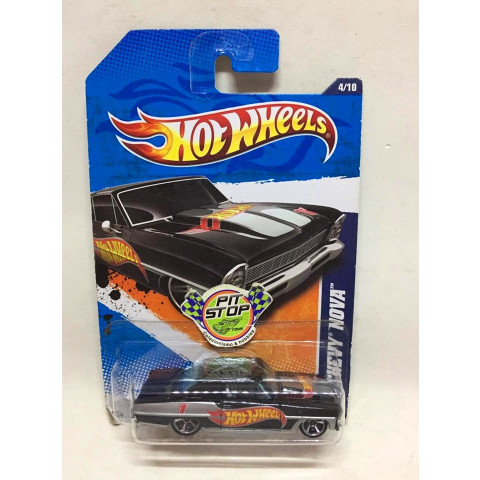 Hot Wheels - 66 Chevy Nova Preto - Mainline 2011