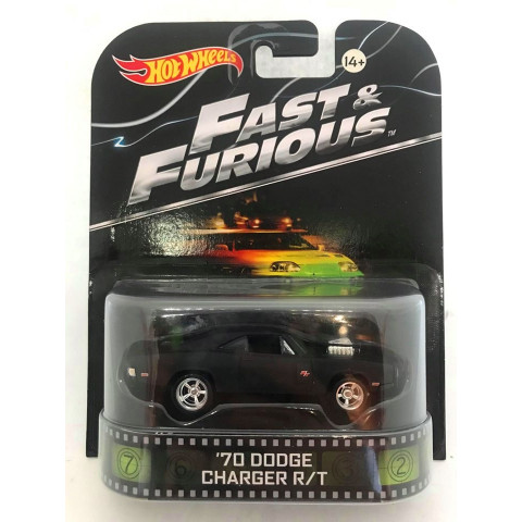 Hot Wheels - 70 Dodge Charger R/T Preto - Fast & Furious - Velozes e Furiosos