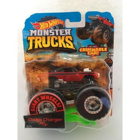 Hot Wheels - Dodge Charger R/T Vermelho - Giant Wheels - Monster Trucks