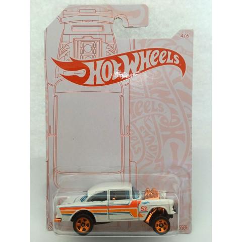 Hot Wheels - 55 Chevy Bel Air Gasser Branco - Pearl Chrome - 52th Anniversary