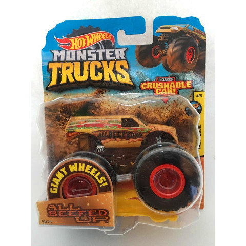 Hot Wheels - All Beefed Up Amarelo - Giant Wheels - Monster Trucks