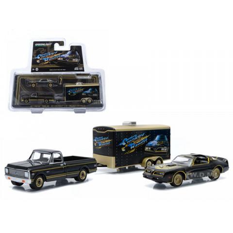 Greenlight - 1:64 - 1977 Pontiac Trans AM - 1971 Chevrolet C-10 - Enclosed Car Hauler - Smokey and The Bandit - Exclusivo Loja MJ Toys