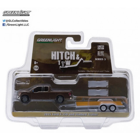 Greenlight - 1:64 - 2015 Ford F-150 and Flatbed Trailer - Hitch and Tow
