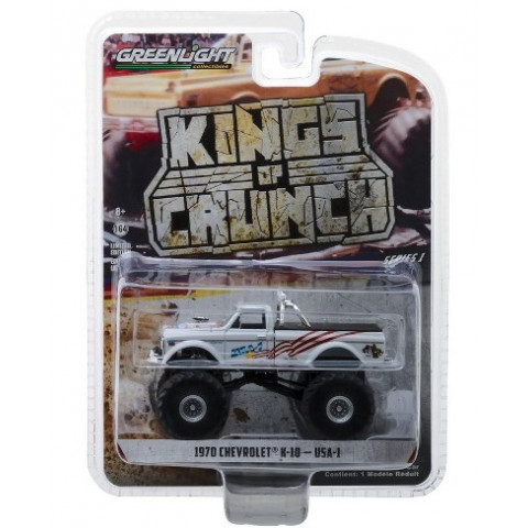 Greenlight - 1970 Chevrolet K-10 Branco - USA-1 - Kings of Crunch