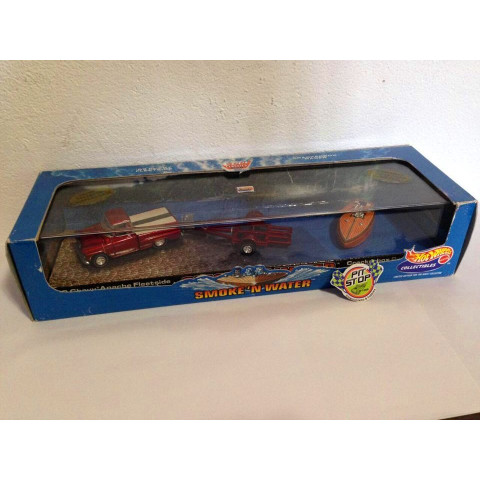 Hot Wheels - 59 Chevy Apache Fleetside, Trailer & Crackerbox Boat - Smoke'n Water - Hot Wheels 100%